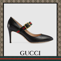 GUCCI Sylvie Plain Leather Wedge Pumps & Mules