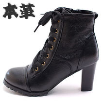 Round Toe Lace-up Casual Style Street Style Plain Leather