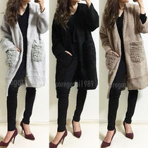 Casual Style Long Sleeves Plain Long Gowns Oversized