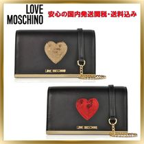 Love Moschino Heart Faux Fur Chain Plain Elegant Style Shoulder Bags