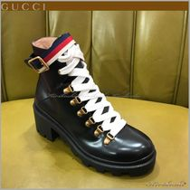 GUCCI Stripes Round Toe Rubber Sole Casual Style Plain Leather