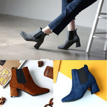 Square Toe Casual Style Suede Plain Chelsea Boots