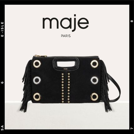 Monogram Casual Style Suede Studded 2WAY Fringes Clutches