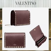 VALENTINO Casual Style Studded Chain Plain Leather Shoulder Bags