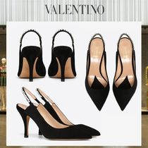VALENTINO Suede Plain Pin Heels With Jewels Elegant Style