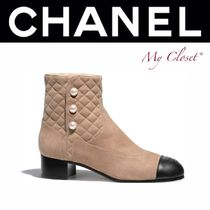 CHANEL ICON Plain Toe Suede Blended Fabrics Bi-color Block Heels