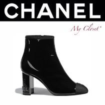 CHANEL ICON Plain Toe Enamel Blended Fabrics Bi-color Plain Block Heels
