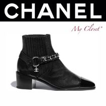 CHANEL ICON Blended Fabrics Chain Plain Leather Block Heels