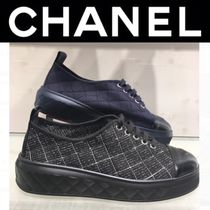 CHANEL ICON Other Check Patterns Rubber Sole Casual Style Unisex