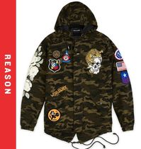REASON Skull Flower Patterns Street Style Parkas
