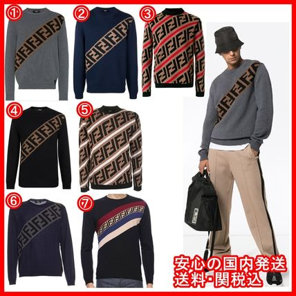 FENDI Knits & Sweaters Crew Neck Stripes Unisex Street Style Long Sleeves