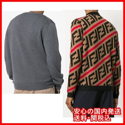 FENDI Knits & Sweaters Crew Neck Stripes Unisex Street Style Long Sleeves 2