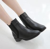Plain Handmade Office Style Ankle & Booties Boots