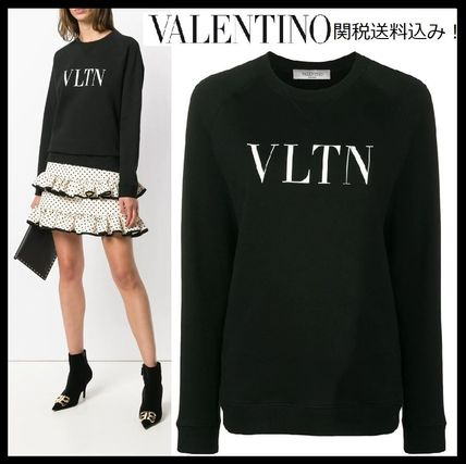 VALENTINO Hoodies & Sweatshirts Crew Neck Blended Fabrics Bi-color Long Sleeves Plain Cotton