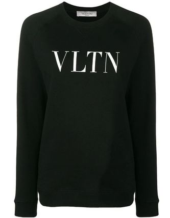 VALENTINO Hoodies & Sweatshirts Crew Neck Blended Fabrics Bi-color Long Sleeves Plain Cotton 2