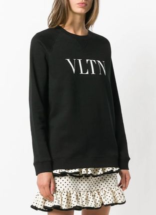 VALENTINO Hoodies & Sweatshirts Crew Neck Blended Fabrics Bi-color Long Sleeves Plain Cotton 3
