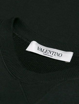 VALENTINO Hoodies & Sweatshirts Crew Neck Blended Fabrics Bi-color Long Sleeves Plain Cotton 9