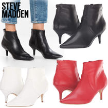 Steve Madden Plain Leather Pin Heels Elegant Style Ankle & Booties Boots