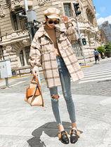 Other Check Patterns Casual Style Oversized Jackets