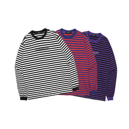 Pullovers Stripes Unisex Long Sleeves Cotton