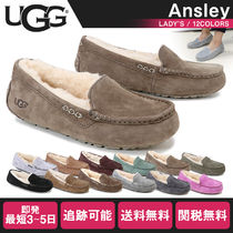 UGG Australia ANSLEY Moccasin Rubber Sole Casual Style Fur Street Style Flats