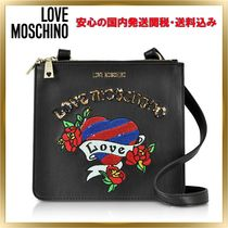 Love Moschino Heart Faux Fur Blended Fabrics Elegant Style Shoulder Bags