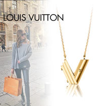 Louis Vuitton Initial Studded Chain Brass Necklaces & Pendants