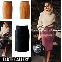Pencil Skirts Faux Fur Plain Medium Skirts