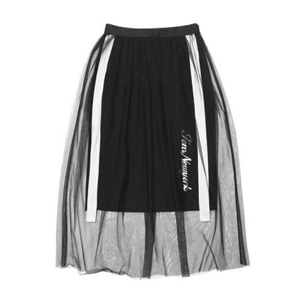 Flared Skirts Casual Style Blended Fabrics Plain Long