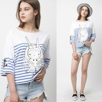 FIFI LAPIN Crew Neck Stripes Collaboration Cropped