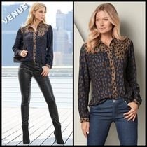 Venus Leopard Patterns Casual Style Long Sleeves Shirts & Blouses