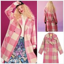 ELF SACK Gingham Casual Style Street Style Long Chester Coats