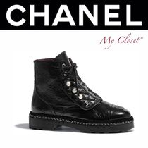 CHANEL ICON Plain Toe Lace-up Blended Fabrics Chain Plain Leather