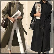 Stand Collar Coats Plain Long Office Style Oversized Coats