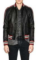 Saint Laurent Short Street Style Plain Leather Varsity Jackets