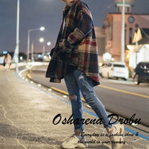 Stripes Other Check Patterns Unisex Street Style Long