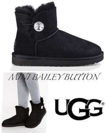 UGG Australia Flat Round Toe Rubber Sole Casual Style Sheepskin Plain