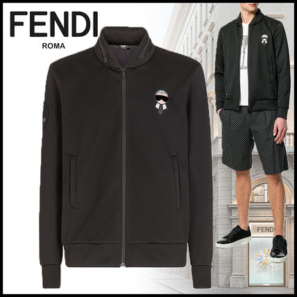 FENDI Sweatshirts Sweat Long Sleeves Plain Logos on the Sleeves Sweatshirts