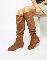ASOS Round Toe Faux Fur Street Style Plain Over-the-Knee Boots