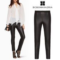 BCBG MAXAZRIA Faux Fur Plain Long Party Style Leather & Faux Leather Pants