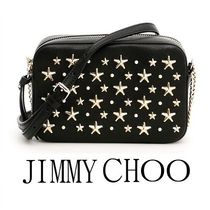 Jimmy Choo Star Studded Plain Leather Shoulder Bags
