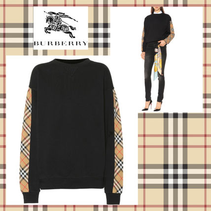 Crew Neck Other Check Patterns Sweat Long Sleeves Medium