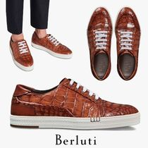 Berluti Street Style Plain Other Animal Patterns Leather Sneakers