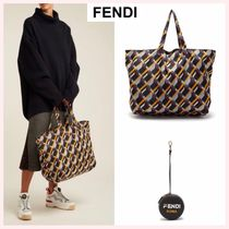 FENDI Casual Style 2WAY Plain Leather Totes