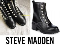 Steve Madden Round Toe Rubber Sole Casual Style Street Style Leather