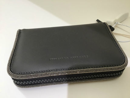Calfskin Blended Fabrics Plain With Jewels Long Wallets