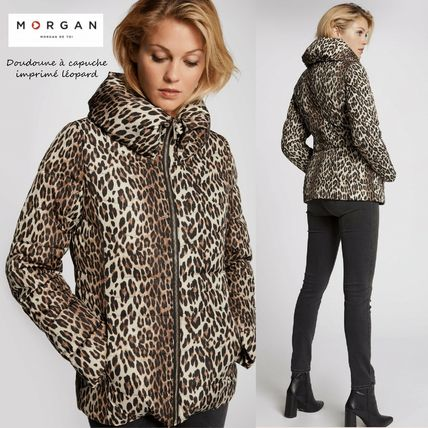 Short Leopard Patterns Down Jackets