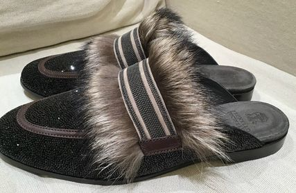 Plain Toe Casual Style Fur Blended Fabrics With Jewels