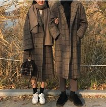 Other Check Patterns Unisex Long Oversized Coats