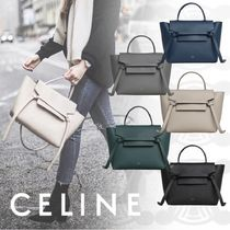 CELINE Belt Unisex Calfskin 2WAY Plain Elegant Style Handbags